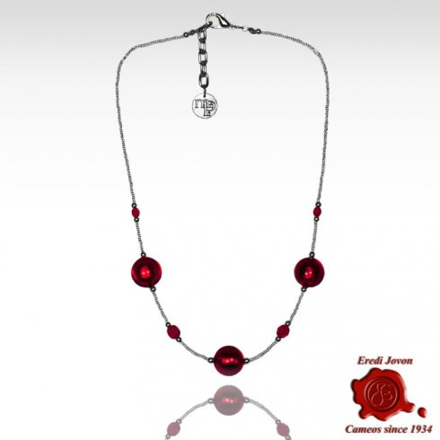 Ruby Venetian Glass Beads Necklace