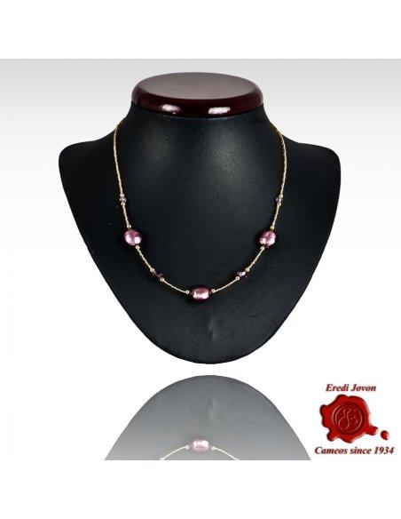 Collana Regolabile Perle Vetro Veneziano Prima Qualità