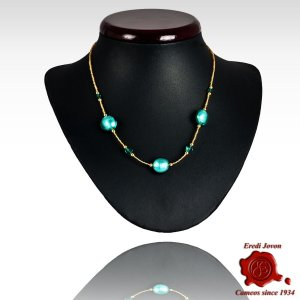 Sea Green Venetian Round Beads Necklace