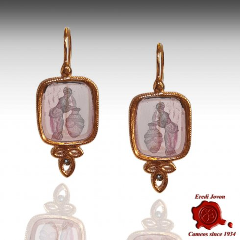Dangling Intaglio Cameo Murano Glass Earrings