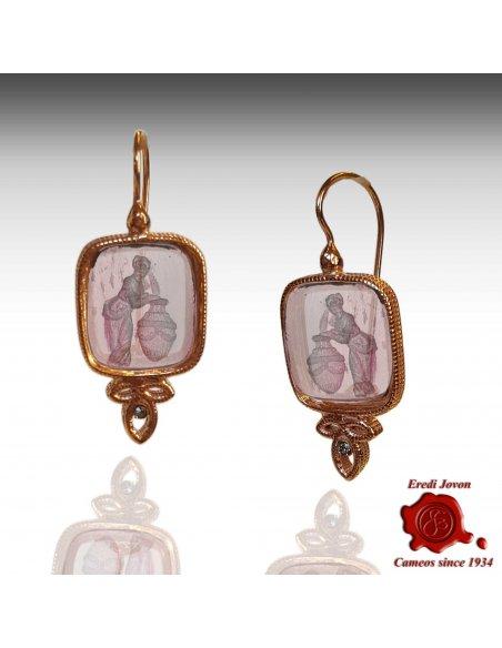 Orecchini Monachella Intaglio Vetro Murano Rosa
