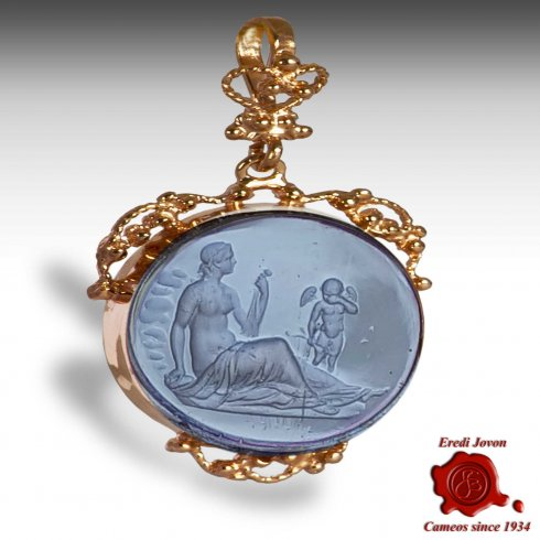 Murano Glass Intaglio Cameo Trinket Filigree Set