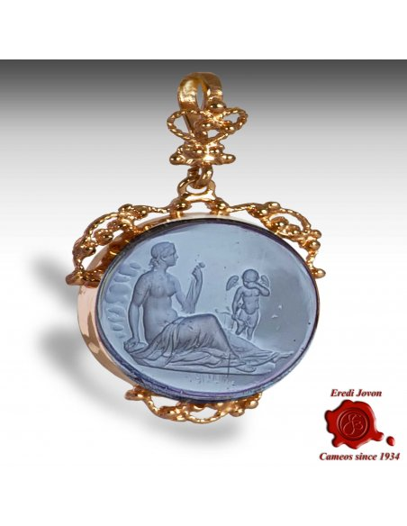 Murano Glass Intaglio Cameo Trinket Filigree Set