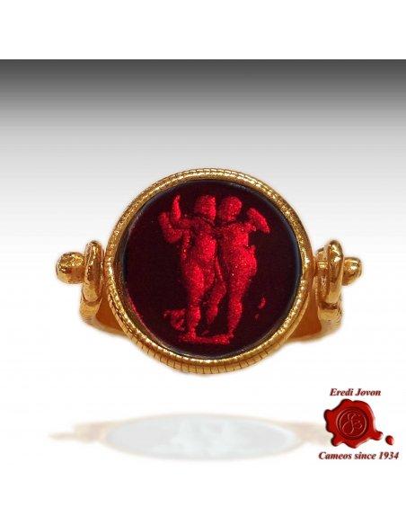 Anello Intaglio Su Vetro Stile Antica Roma