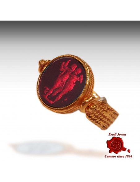Intaglio Murano Glass Ring Ancient Rome Style