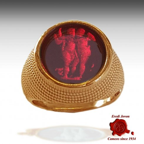 Venetian Glass Intaglio Cameo Ruby Ring