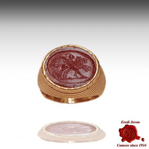 Intaglio Cameo Murano Ring Solid Set