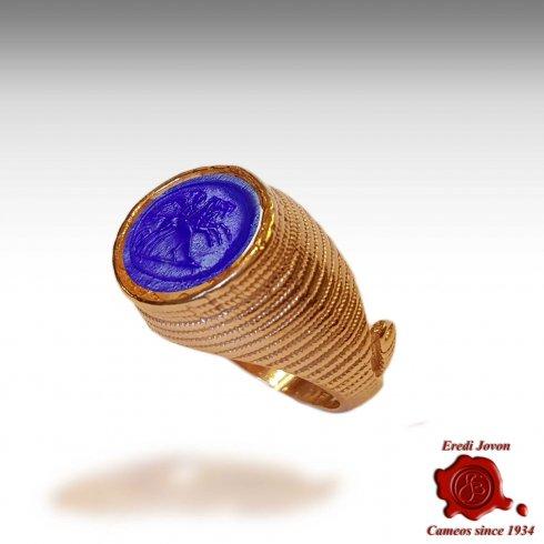Authentic Intaglio Cameo Venetian Glass Ring