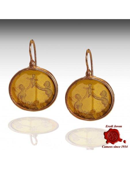 Oval Murano Glass Intaglio Cammeo Earrings