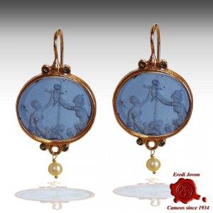 Oval Dangle Intaglio Venetian Glass Earrings
