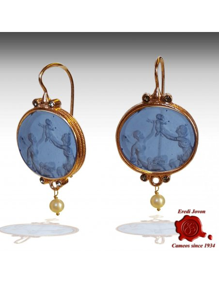 Oval Dangle Intaglio Venetian Glass Earrings