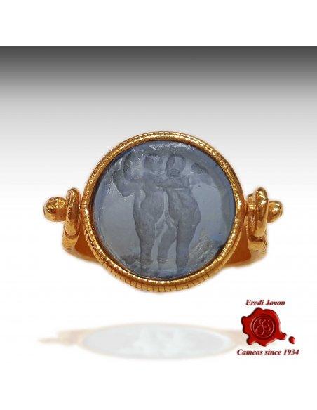Intaglio Murano Glass Ring Ancient Rome Style