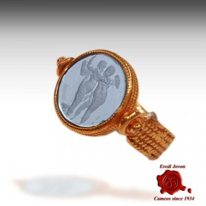 Intaglio Glass Ring Ancient Rome Style