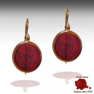 Dangle Ruby Murano Glass Intaglio Cameo Earrings