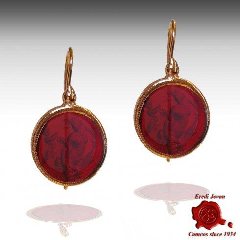 Orecchini Monachella Cammeo Intaglio Vetro Murano Rosso