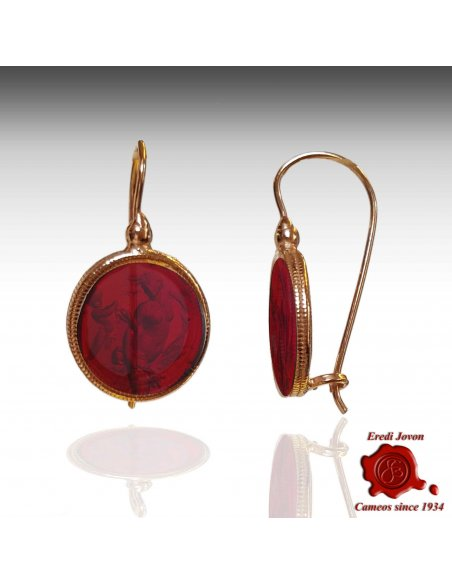 Dangle Ruby Murano Glass Intaglio Cameo Earrings
