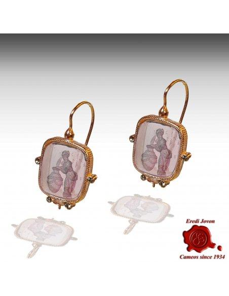 Dangle Rectangular Murano Glass Intaglio Earrings