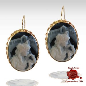 Rialto Cameo Blue Earrings Gold Set
