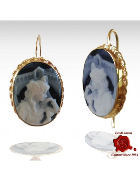 Rialto Cameo Blue Earrings Silver Set
