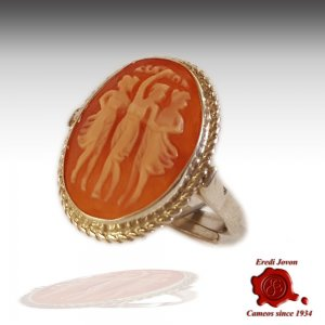 3 Graces cameo silver ring