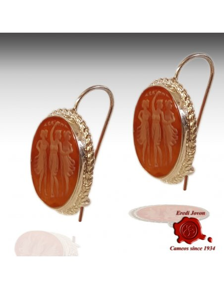 Three Graces Shell Cameo Earrings