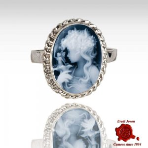 Blue Cameo Silver Ring Lady with Fairy