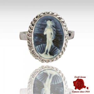 Nascita di Venere anello cammeo blu argento