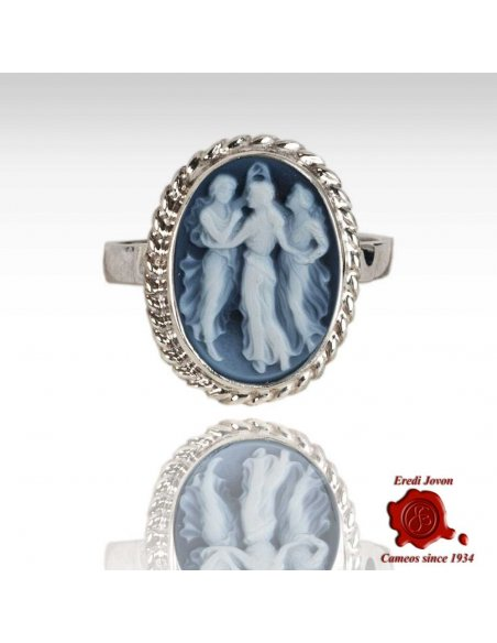 Three Graces Blue Cameo Ring