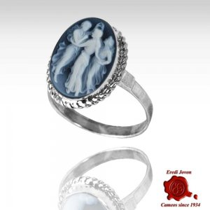 Three Graces Blue Cameo Ring Silver