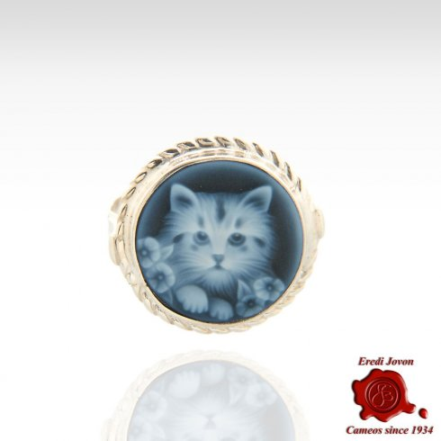 Cat Blue Cameo Ring