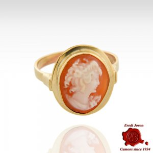 Gold Cameo Ring Primavera