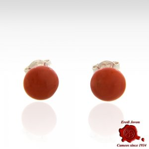 Red Coral Stud Earrings Silver Beads