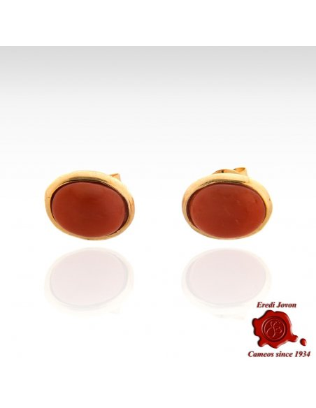 Red Coral Stud Earrings Silver Cabochon