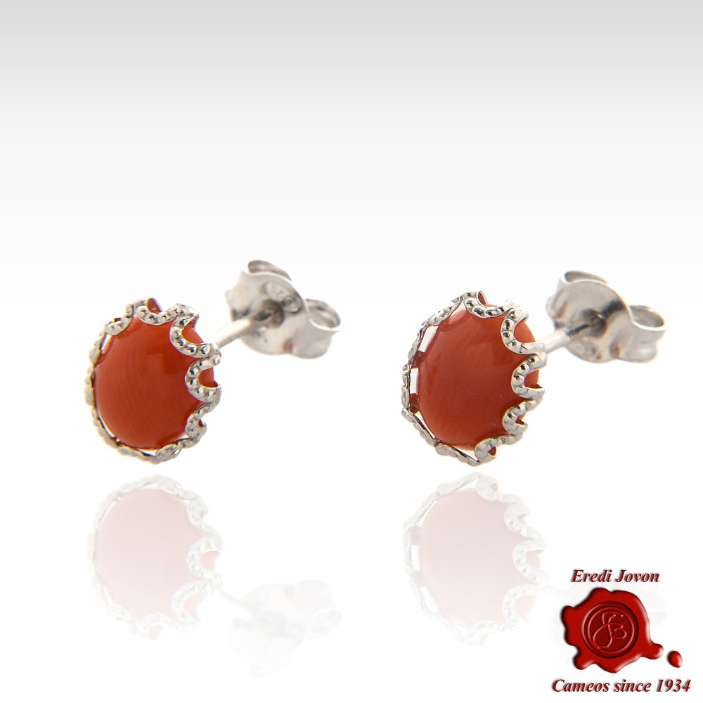 8cc854093 Earring Red Coral Silver Cabochon Authentic Genuine Jovon Venice