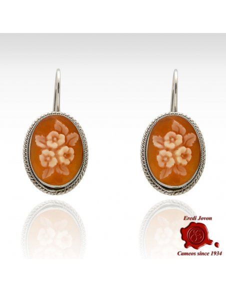 Shell Cameo Flower Earrings Silver