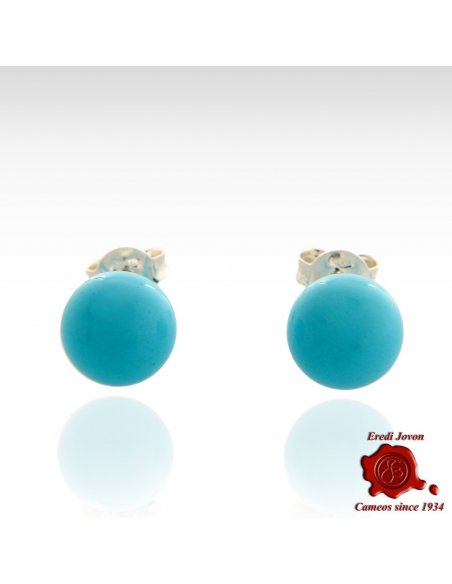 Turquoise beads Silver Stud Earrings