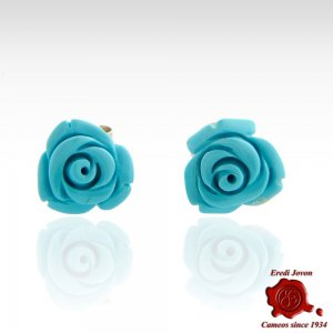 Turquoise Roses Earrings Silver
