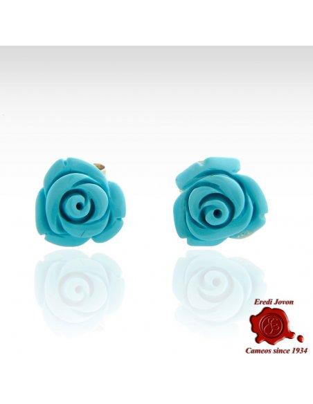 Orecchini rose turchese argento