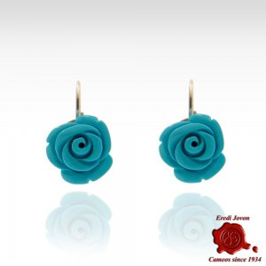 Turquoise Engraved Rose Earrings