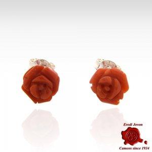 Orecchini rose corallo rosso argento