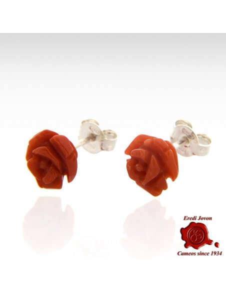 Red Coral Roses Earrings Silver