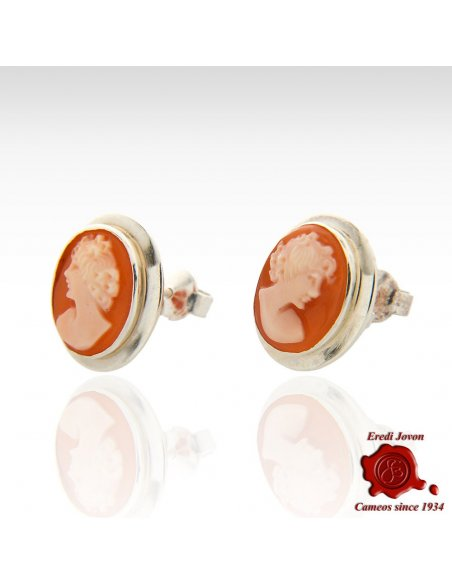 Silver Shell Cameo Earrings Studs