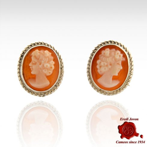 Shell Cameo Silver Earrings