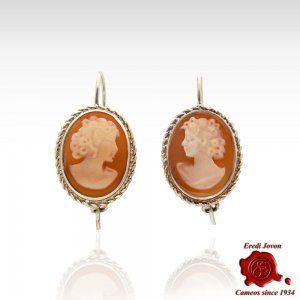 Shell Cameo Dangle Earrings