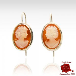 Shell Cameo Earrings Silver