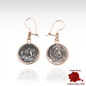 Ancient Roman Style Bronze Coin Dangle Earrings