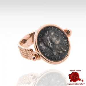 Anello Reversibile Moneta Domiziano Bronzo