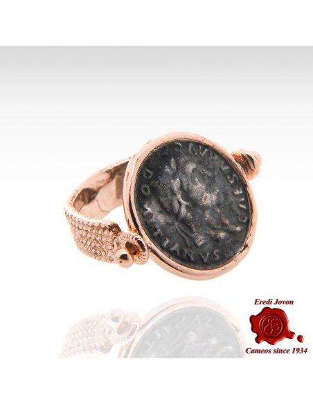 Anello Reversibile Moneta Domiziano Bronzo