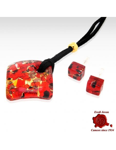 Murano Glass Necklace Red