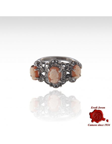 Three Ladies Cameo Ring